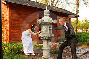 BRIDE AND GROOM IN A PARK Stock Photography - Image: 19395512