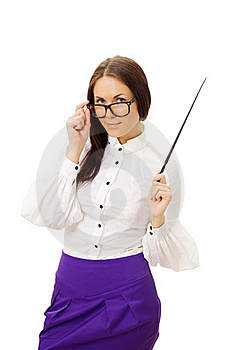 Woman Wearing Glasses Standing And Holding Pointer Royalty Free Stock Photography - Image: 19395907