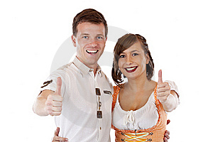 Bavarian Man And Woman Showing Thumbs Up Stock Image - Image: 19397311