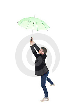 Young Man With Umbrella Stock Images - Image: 19397464