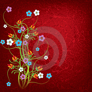 Abstract Grunge Illustration With Flowers Stock Photos - Image: 19401813