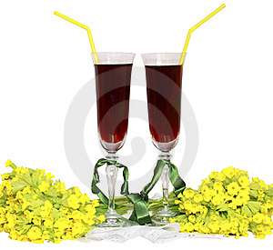 Two Glass Glasses With Wine Tubes For A Cocktail A Royalty Free Stock Photo - Image: 19402035