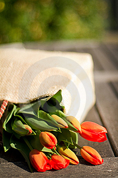 Flowers In A Shopping Bag Royalty Free Stock Photos - Image: 19405078