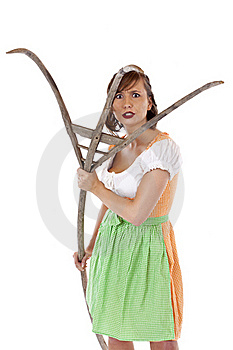 Young Bavarian Woman Attacks With Pitchfork Stock Image - Image: 19407551