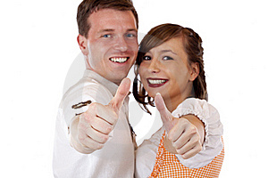 Bavarian Man And Woman Showing Thumbs Up Stock Photography - Image: 19407552