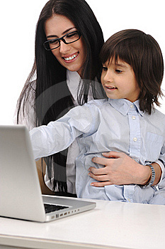 Happy Mother And Son On Laptop Stock Images - Image: 19407744