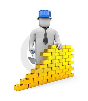Wall From Gold Bricks Stock Photos - Image: 19408393
