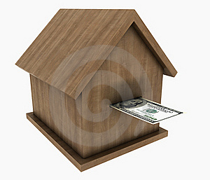 A Small Wooden House Stands On The Banknotes Of Th Stock Images - Image: 19409074