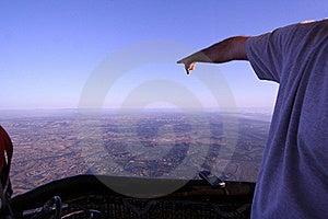Man Points Towards The Horizon In Hot Air Balloon Stock Photos - Image: 19413033