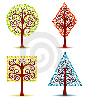 Four Geometrical Trees. Stock Photography - Image: 19413042