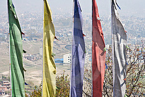 Kathmandu Over Prayer Flags. Stock Photography - Image: 19416392