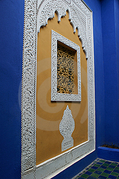 Oriental Blue Wall, Marrakech Royalty Free Stock Images - Image: 19417409