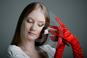 Girl In Gloves With Brush Stock Photo - Image: 19418090