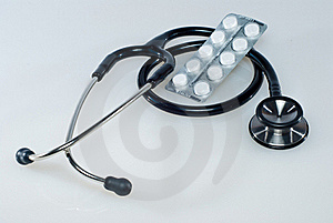 Medical Pills And Stethoscope. Stock Images - Image: 19420374