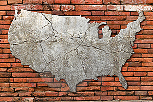 Cement Cracking Image United State Map Royalty Free Stock Photography - Image: 19422367