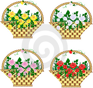 Baskets With Roses Royalty Free Stock Images - Image: 19423329