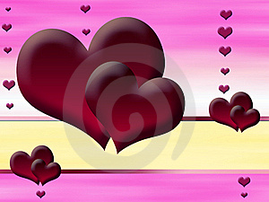 Red Hearts On A Pink Background Stock Image - Image: 19424051