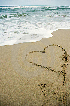 Heart Drawing On The Sand Beach Royalty Free Stock Photography - Image: 19426247