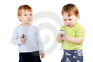 Isolated Surprised Little Girl And Boy The Phone Royalty Free Stock Photos - Image: 19426518