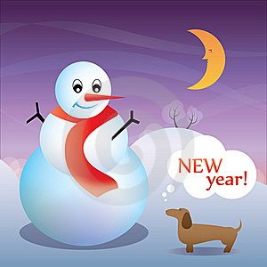 New Year Card With A Dog And A Snowman Royalty Free Stock Image - Image: 19428086