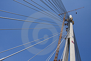 Suspended Bridge Construction Royalty Free Stock Images - Image: 19428679
