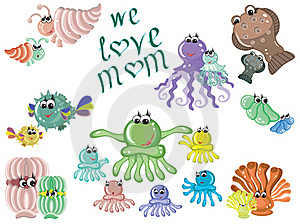 Mothers Day,sea Animals Royalty Free Stock Image - Image: 19429536