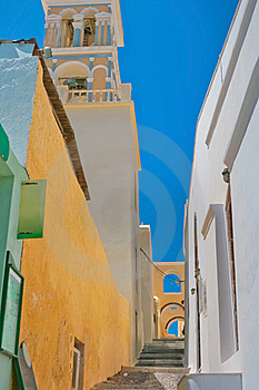 Colorful Old Street In Santorini Stock Photos - Image: 19431953
