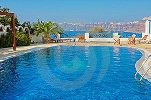 Blue Swimming Pool In Fira On Island Of Santorini Stock Photography - Image: 19432062