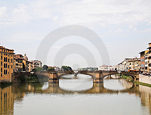 Reflection Of Ponte Alle Grazie Bridge Florence Royalty Free Stock Photos - Image: 19435528