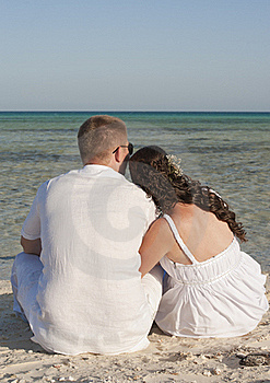 Young Newlyweds On A Tropical Beach Royalty Free Stock Image - Image: 19437136