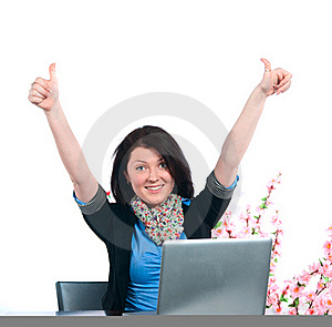 The Businesswoman Works At The Computer Stock Photos - Image: 19442663