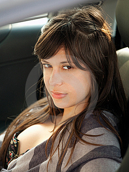 Beautiful Young Woman In Car Royalty Free Stock Photos - Image: 19443688