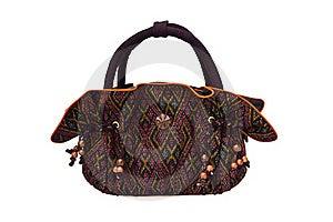 Thai Silk Handbag Isolated On White Background Stock Photo - Image: 19444140