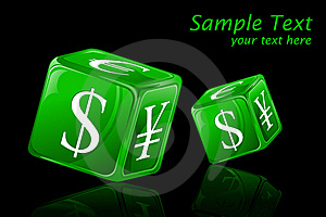 Dice With Currency Symbol Stock Photography - Image: 19444762