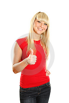 Close-up Of A Young Woman Showing Thumbs Up Royalty Free Stock Photo - Image: 19446325