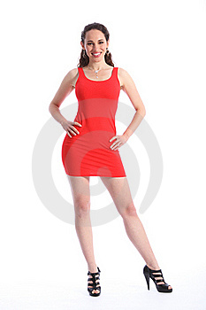Sexy Woman In Short Red Dress Black High Heels Royalty Free Stock Image - Image: 19446516