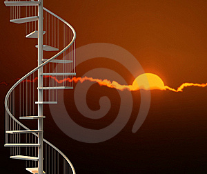Vertical Spiral Stairway In Sunset Scene Royalty Free Stock Photo - Image: 19447335