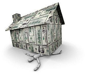 Person Crushed Under House Made Of Money Stock Photography - Image: 19447952
