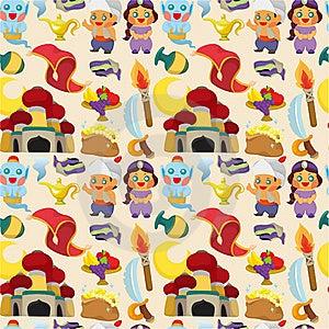 Cartoon Lamp Of Aladdin Seamless Pattern Royalty Free Stock Photography - Image: 19449397