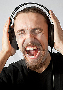 Guy Listening To The Music And Screaming Stock Photo - Image: 19449830