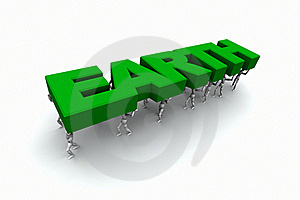 People Carrying The Word 'EARTH' Royalty Free Stock Image - Image: 19450666