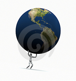 Man Lifting Earth (Americas) Royalty Free Stock Images - Image: 19450699