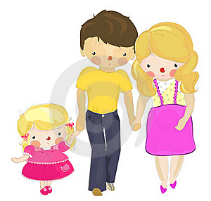 A Dad And A Pregnant Mom With A Little Daughter Royalty Free Stock Photo - Image: 19451205