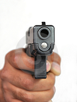 Pistol In A Man's Hand On A White Background. Stock Image - Image: 19453481