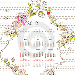 Template For Calendar 2012 Royalty Free Stock Photography - Image: 19456967