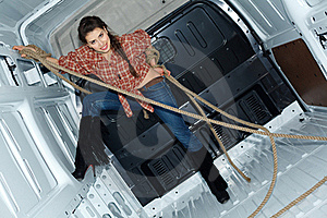 Sexy Young Woman In Cargo Van Royalty Free Stock Photo - Image: 19457605