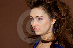 Amazing Brunette With Flying Hair. Stock Photos - Image: 19458493