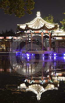 Night Scene Of Pavilion Reflection Royalty Free Stock Photography - Image: 19459517