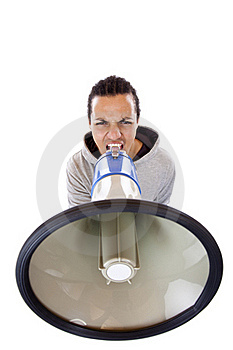 Young African Man Shouting Loudly In Megaphone Royalty Free Stock Photos - Image: 19460738