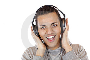 Happy Man With Headphones Listens To Mp3 Music Royalty Free Stock Photography - Image: 19460777